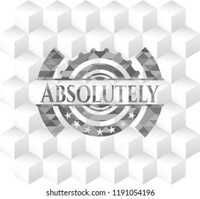 Absolutely grey emblem. Retro with geometric cube white background