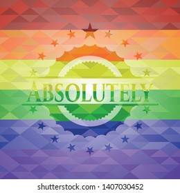 Absolutely lgbt colors emblem. Vector Illustration. Mosaic.