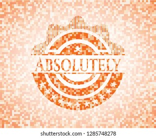 Absolutely orange tile background illustration. Square geometric mosaic seamless pattern with emblem inside.
