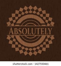 Absolutely retro wooden emblem. Vector Illustration.