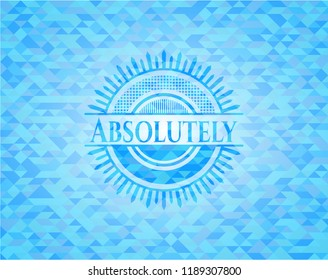 Absolutely sky blue emblem with mosaic ecological style background