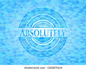 Absolutely sky blue emblem with mosaic background