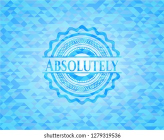Absolutely sky blue emblem with triangle mosaic background