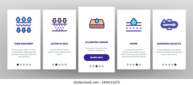 Absorbent, Absorbing Materials Vector Onboarding Mobile App Page Screen. Absorbents For Moisture Control. Absorbing Breathable Textures For Children, Women Linear Pictograms. Water Drops Illustrations