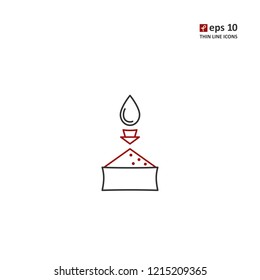 Absorption - vector thin line icon on white background. Symbol for web, infographics, print design and mobile UX/UI kit. Vector illustration, EPS10.