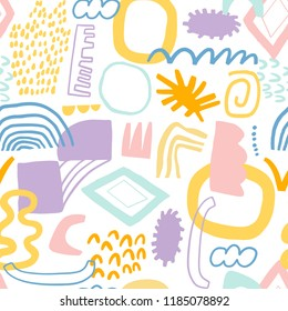 Absract collage seamless pattern vector cute background