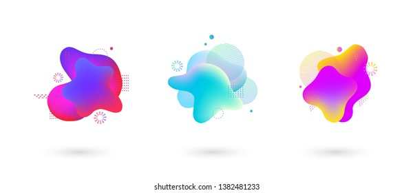 Absract fluid gradient spots with geometric symbols set. Set of spots with abstract elements for trendy pink, purple, blue and yellow color design. Vector illustration on isolated background.