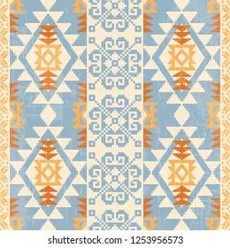 Absract geometric seamless pattern. Native american and scandinavian traditionsl motives