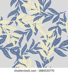 Absract seamless pattern with navy blue and light yellow leaves branches random print. Decorative backdrop for fabric design, textile print, wrapping, cover. Vector illustration.
