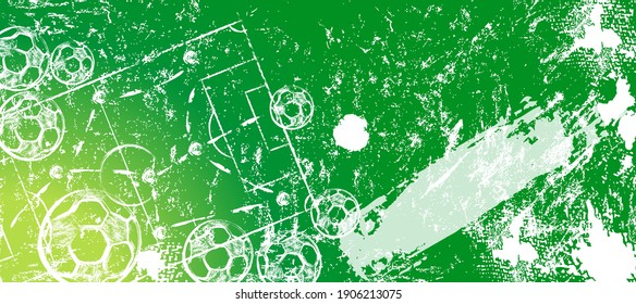 abstact background with soccer ball, football, field, paint strokes and splashes, grungy, free copy space