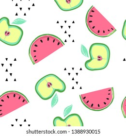 Abstact bright seamless pattern with doodle style summer fruits