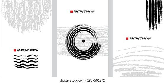 Abstact japanese art design set. Hand painted minimalistic composition. Watercolor and inc paint stains in contemporary template. Cover, card, poster and banner modern design.