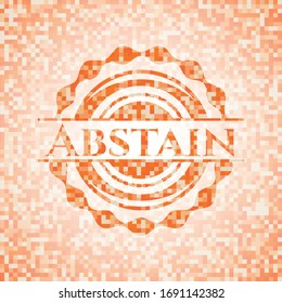 Abstain abstract orange mosaic emblem with background