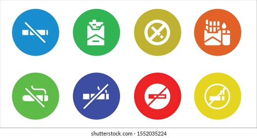 abstain icon set. 8 filled abstain icons.  Collection Of - No smoke, No smoking, Cigarette icons