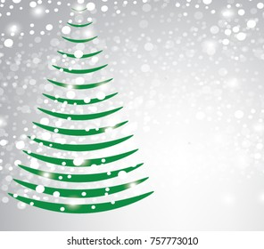 Abstarct christmas tree on blurred background, vector