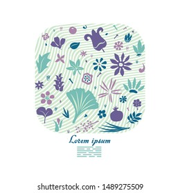 abstarct floral doodles forming rectangular shape as a graphic template