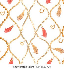 Abstarct seamless pattern with various gold chains, tassels, heart and golden horseshoe pendant. Trendy print for textile, scarf, lingerie, wrapping paper, invitation, packaging. Vector illustration.