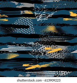 Abstra dark seamless grunge pattern for boy and girl. Urban style modern background with strips, dots and spray elements. Drive modern creative wallpaper for guys.