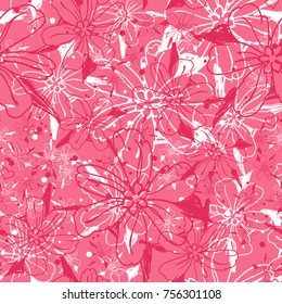 Abstrac bacground with flowers. Floal seamless pattern. All over print.