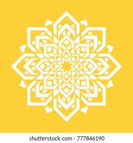 Abstrac flower. Vector yoga design element. Round floral symbol. White and yellow. Fresh idea for yoga teachers, meditation teachers, alternative medicine. Energy, vitality, desire symbol illustration