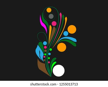 Abstrac flowers. Black background.