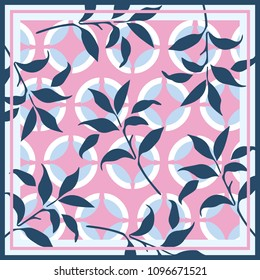 Abstrac geometric circle shape pattern and leaves for scarf design on pink