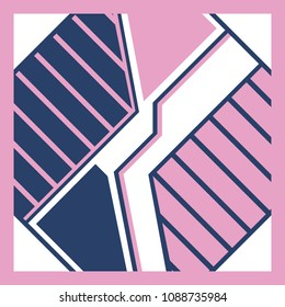 Abstrac geometric line style on pink and blue for scarf design