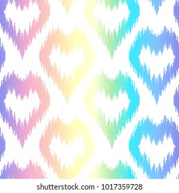 Abstrac seamless pattern on holographic background. Backdrop with heart dots. Hologram rainbow effect wallpaper for wedding invitation, birthday and valentines cards, textile prints.