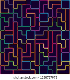 Abstrack Colorful line block game pattern vector.