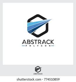 Abstrack Hexagonal Logo Illustration. Moving Logo Template.