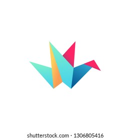 abstrack shape origami bird logo