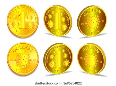 Abstract 1 ounce fine gold coin. Denomination one virus covid-19. Several 3D projections EPS10