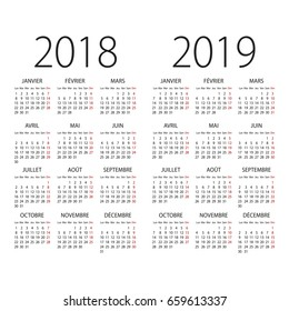 Abstract 2017 and 2018 French vector calendar
