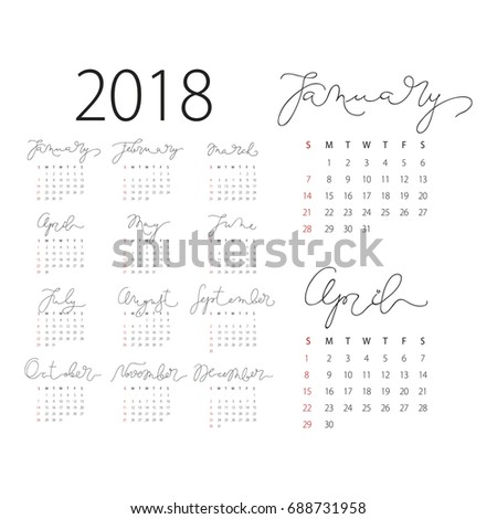abstract 2018 vector calendar with monday the first day of week months lettering