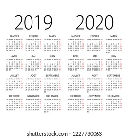 Abstract 2019 and 2020 French  vector calendar. Organizer template.