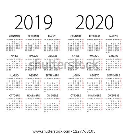 Calendario 2020 Vettoriale Gratis.Immagine Vettoriale A Tema Abstract 2019 2020 Italian Vector