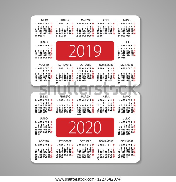 Calendario Julio 2019 Vector.Abstract 2019 2020 Spanish Pocket Vector Stock Vector