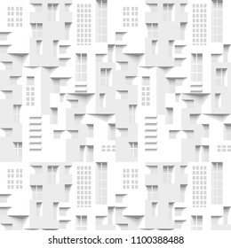 Abstract 3 D white geometrical background. Facad. Brick. Seamless pattern. Architectural structure with shadow. Simple clean white background texture. Vector interior wall panel pattern.