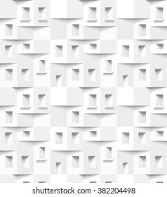 Abstract 3 D white geometrical background. Seamless pattern. Architectural structure with shadow. Simple clean white background texture. Vector interior wall panel pattern.