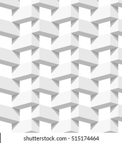 Abstract 3 D white geometrical background. Brick. Seamless pattern. Architectural structure with shadow. Simple clean white background texture. Vector interior wall panel pattern.