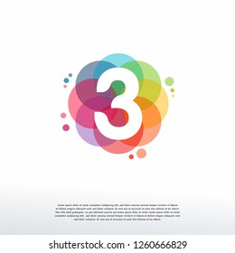 Abstract 3 logo designs concept vector, Colorful Number 3 logo designs