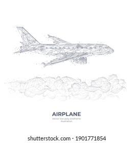 Abstract 3d airplane flying over clouds. Digital vector wireframe of airliner in the sky. Travel, tourism, business, transportation concept. Polygonal hand drawn sketch with connected dots in white