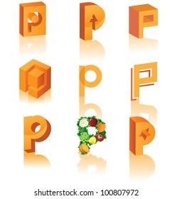 Abstract 3D Alphabet Letter P Cube Symbol Icon Set EPS 8 vector grouped for easy editing.