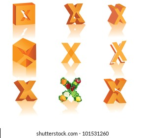 Abstract 3D Alphabet Letter X Cube Star Symbol Icon Set EPS 8 vector grouped for easy editing.
