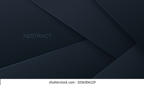 Abstract 3d background with black paper layers. Vector geometric illustration of carbon sliced shapes. Graphic design element. Minimal design. Decoration for business presentation