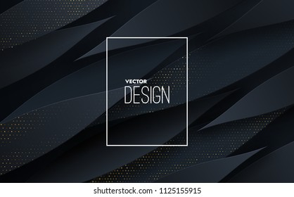 Abstract 3d background with black paper shapes. Vector geometric illustration of carbon sliced shapes textured with golden glittering dots. Graphic design element. Elegant decoration