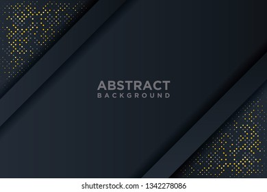 Abstract 3D background with a combination of luminous gold dots in 3D style. Graphic design element. Elegant decoration. EPS 10