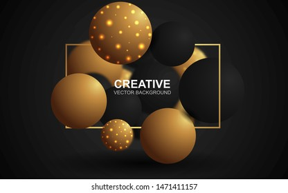Abstract 3d background with golden and black realistic sphere composition. Luxury, trendy and modern cover design concept. Creative vector illustration template for use element poster and banner