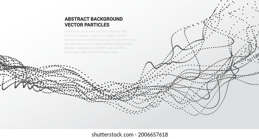 Abstract 3D background with the movement of the flow of particles in virtual reality. Design web sites, banners, packaging on the theme of science and computer games. Vector illustration.
