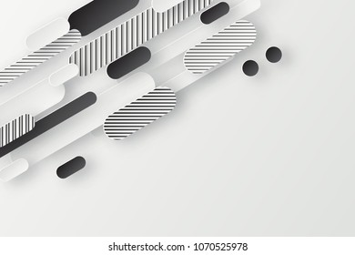 Abstract 3d background with white striped and black paper geometric shapes, lines and circles with drop shadows on white background.  Minimal design.